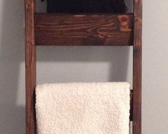 Rustic 6 Foot Tall Blanket Ladder Quilt Display