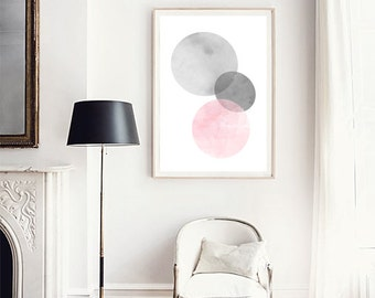 Watercolor painting, Abstract watercolor, Pink wall art Geometric poster, Minimalist print, Large wall art, Large Abstract painting, Minimal