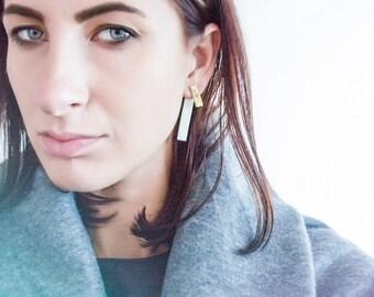 Gold earrings, gold stud earrings, earrings handmade, two tone earrings, porcelain jewelry, post earrings, gold bar earrings