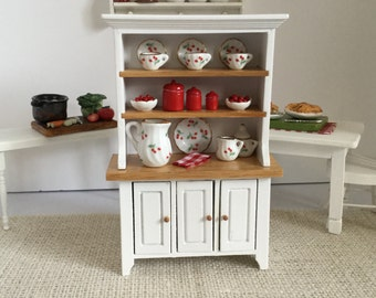 ON SALE Hutch with Red Accents for 1:12 Scale Dollhouse
