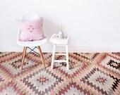 "Vintage Turkish Kilim Rug, ""The Esmé,"" Diamond Pattern, Pink Rug, Faded Pastel Rug, Geometric Pattern Rug, Bohemian Rug, Boho Rug, Kids Rug"