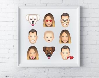 Family portrait illustration - emoji | Birthday gift Gift for women Wife gift Gift for her Personalized family portrait Gift for men