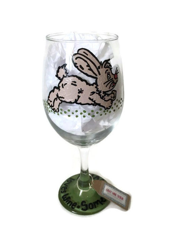 some bunny loves wine hand painted custom wine glass bunny. Black Bedroom Furniture Sets. Home Design Ideas