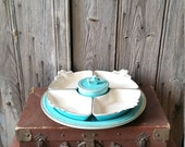 French Art Deco Blue Ceramic Appetizer Dish  -  French Vintage Aperitif Appetizer Dish Set
