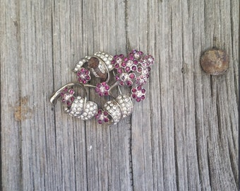 Large French Vintage Sparkly Flower Brooch  -  Amethyst and Diamante Vintage Flower Brooch