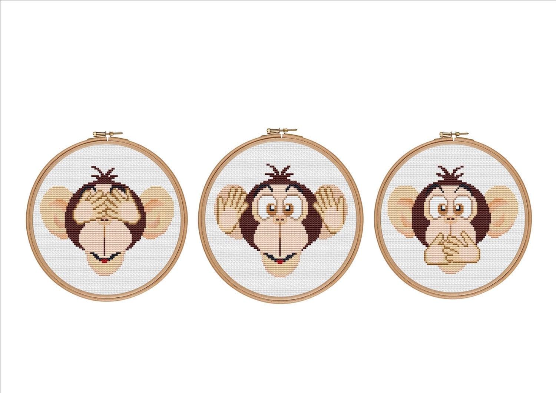 Three wise monkeys wooden ornaments - Cross Stitch Set Set Of 3 Three Wise Monkeys Monkey Cross Stitch