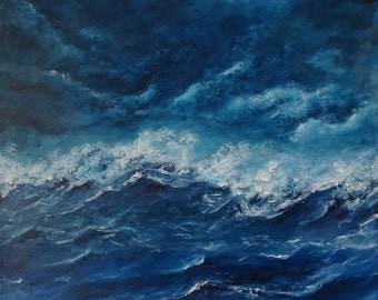 Sea Painting Original Painting on Canvas Modern Art Wave Painting Storm Seascape Painting
