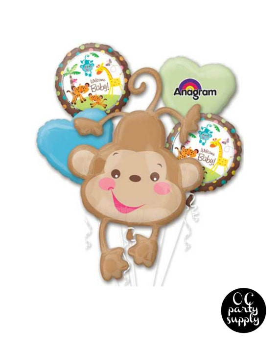 Fisher price baby monkey balloon bouquet baby by ocpartysupply - Monkey balloons for baby shower ...