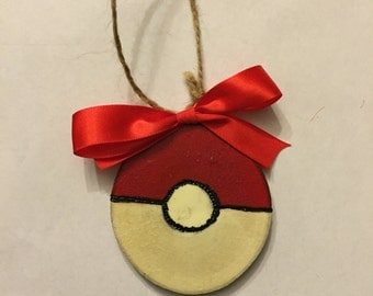 Wood Slice Ornament, Pokeball, Pokemon, Gift Tag, Wood Burned, Hand Painted Ornament