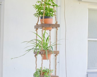 Rustic Hanging planter, hanging wood planter, 3 tier hanging planter, vertical planter, wood planter, hanging pot garden, outdoor planter