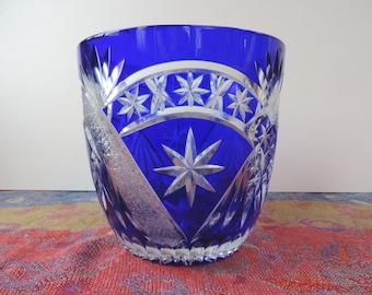 Blue Cobalt Crystal  Hand Etched Bowl Made in Germany Vintage