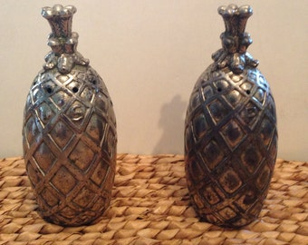 Pineapple Salt & Pepper Shakers Vintage Eleanor Claire Design Silver Plate Pineapple Salt and Pepper Shakers Made in Japan