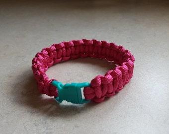 Womens Paracord Bracelet, Pink Paracord Bracelet, Teal Buckle Bracelet, Teal Pink Bracelet, Survival Bracelet, Womans Bracelet Rope Bracelet