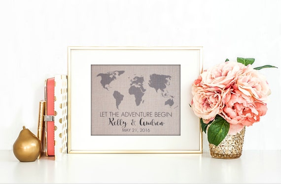 Wedding Gifts For Adventurous Couples : Adventure Begin Print Wedding Gift Gift for the Couple Wedding ...