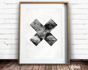 Cross Print, Floral Cross, Flower Print, Roses Print, Black and White, X Print, Swiss Cross, Minimalist Print, Instant Download, Large Print