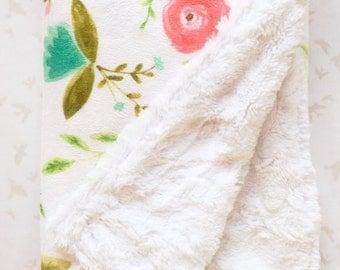 MADE TO ORDER Floral Baby Blanket, Painted Floral Blanket, Baby Blanket, Baby Blanket, Flowers Girl Blanket, Stroller Blanket,Floral Nursery