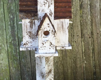 Handcrafted Birdhouse; Garden Decor; Tin Roof; Rustic Bird House