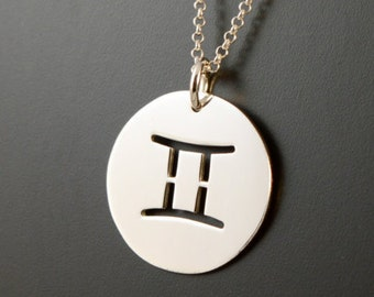 GEMINI PENDANT, Sterling Silver ZODIAC Necklace, Zodiac Pendant, Zodiac Charm, Zodiac Necklace, Made in Italy, Silver Charm