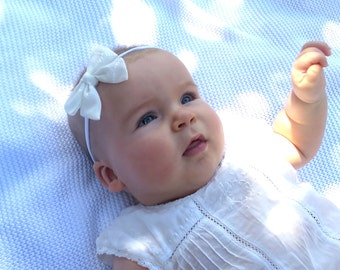 White Baby Hair Bow - White Baby Headband - White Infant Hair Accessory - Christening Bow - Baptism Headband