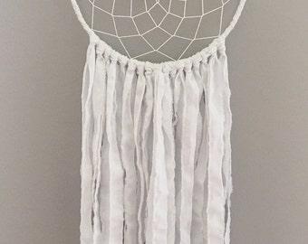 White Dream Catcher - Bohemian Dream Catcher - Bohemian Wall Art- White Dreamcatcher - Large White Dream Catcher - Boho Wedding