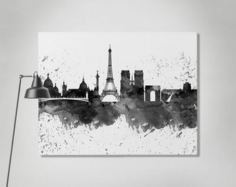 Paris canvas print, Paris watercolor skyline canvas, Art Print, Art, Canvas, Paris black & white print, Home decor, Wall art ArtPrintCanvas.