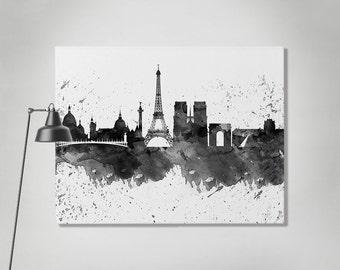 Stampa su tela di Parigi, Parigi acquerello skyline canvas, Art Print, arte, tela, bianco e nero stampa, Home Decor, Wall art ArtPrintCanvas Parigi.