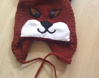 Childs hat FOX hand knitted