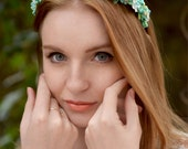 Wedding Headband Mint Bridal  floral crown Mint headpiece  Summer wedding Cream crystal floral hair accessory  Aqua hair wreath  bridesmaid