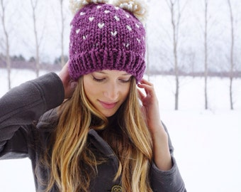 Chunky Knit Heart Hat