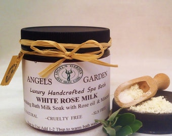 Dreamy White Rose Milk Bath Soak. Milk bath.Moisturizing spa bath.Bath salts and milk.Skin care.Soap ,bath salt,spa gift,spa gift for her