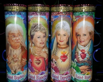 Golden Girls set of 4 with BLING  - Dorothy, Sophia, Rose,Blanche, - Celebrity Saint Prayer Candle in new Tropical Frames