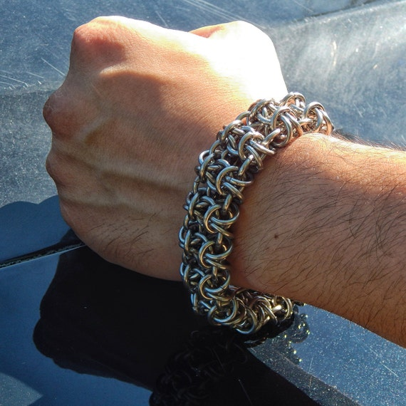 Stainless Steel - Gridlock Byzantine - Chainmaille Bracelet - Chainmail Bracer - Chainmaille Cuff - Metal Cuff - Chain Bracelet - Maille