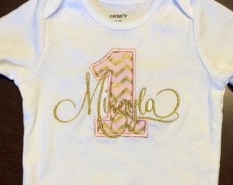 Baby Onesie - Monogram + Applique Number