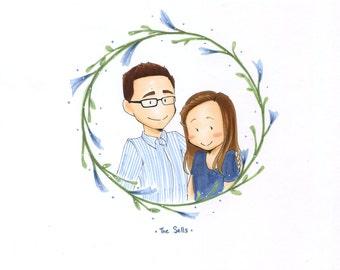 Custom Portrait Couple Illustration Family Portrait Couple Gift Newlywed Wedding Gift Custom Present