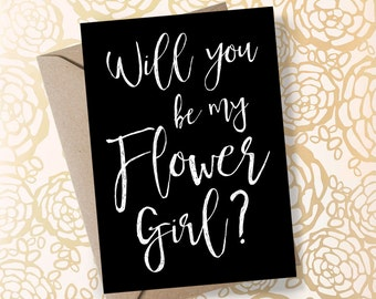 Printable Will You Be My Flower Girl Card Petal Patrol Will You be my Flowergirl Card Flower Girl Invite Black and White Wedding Flower Girl