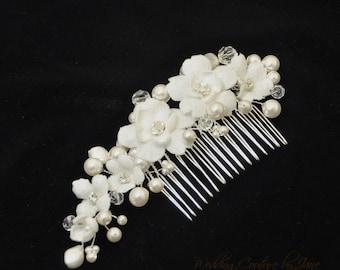 Cherry Blossom and Vine Hair Comb,  White bridal hair flower, Bridal hair comb, Millinery flowers, Wedding hair clip