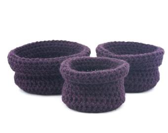 Set de trois paniers gigognes faits au crochet Bisofa - Violet - Paniers en laine violet