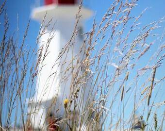 light house with grass at Peggy's cove ; Nova Scotia, Canada