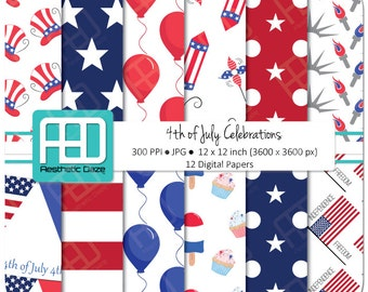 4th of July, celebrations, independence day, digital paper, scrapbook, 12x12 inch, 300 DPI, red, blue, commercial use - Instant Download