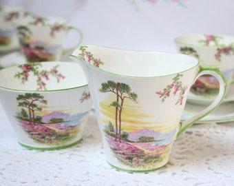 Elegant Art Deco bone china Aynsley  creamer/ milk jug and sugar bowl, beautiful heather.