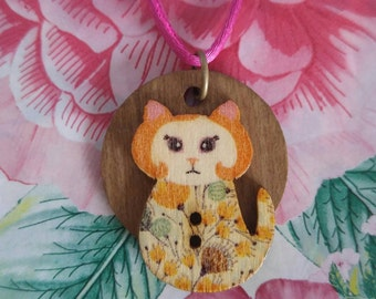 Cat Button on Wood Disc Necklace