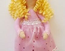 Handmade Sleeping Beauty doll with a pink dress and curly yellow yarn hair, Tilda style Princess doll, soft cloth stuffed doll, girls gift
