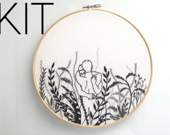"Embroidery kit ""Monochrome"" / Embroidery art / gay art"