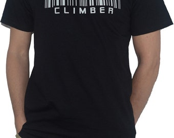 Climber Barcode Funny T-Shirt Mounting Climbing Extreme Sports Mountaineer