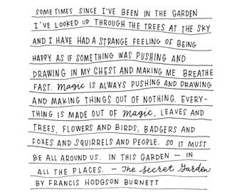 Secret Garden Quote Calligraphy Print