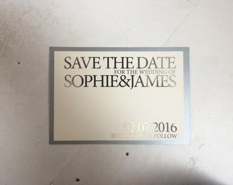 silver elegant save the date, silver save the date, traditional save the date