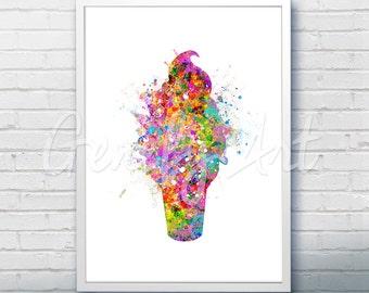 Ice Cream Watercolor Art Print  - Kitchen Watercolor Art Painting - Ice Cream Poster - Kitchen Decor - Home Decor - House Warming Gift