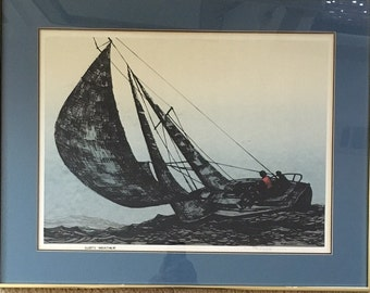 "MCM Roger Berghoff Signed Silkscreen Titled ""Gusty Weather"""