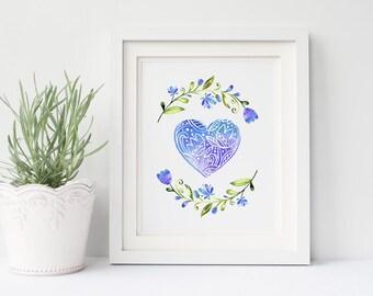 Heart Printable, Scandinavian Folk Art Print, Love 8x10 Instant Download, Blue Watercolor Artwork, Digital Download, Wall Decor