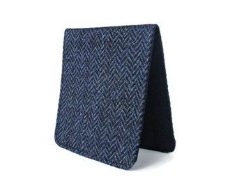Vintage Wool Wallet,Herringbone Wallet,Super Slim Wallet,Men Minimal Wallet,Navy Blue Wallet,Vegan ID Card Holder,Retro Fabric Bifold